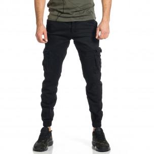 Ανδρικό μαύρο παντελόνι cargo Plus Size