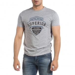 Ανδρική γκρι κοντομάνικη μπλούζα Hey Boy