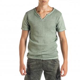 Ανδρική πράσινη κοντομάνικη μπλούζα Duca Homme
