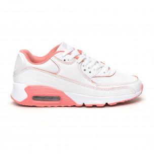 Γυναικεία λευκά-ροζ αθλητικά παπούτσια με αερόσολα Jomix