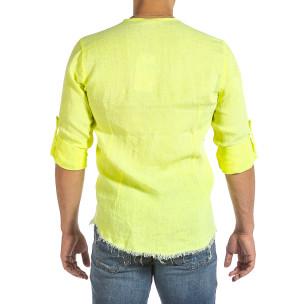 Ανδρικό κίτρινο λινό πουκάμισο Duca Fashion  2