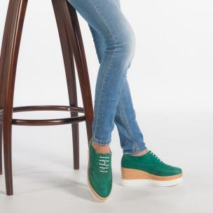 Γυναικεία πράσινα παπουτσια με πλατφορμα VeraBlum 2