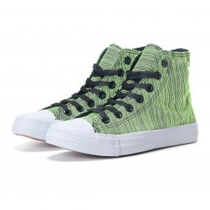 Ψηλά γυναικεία υφασμάτινα sneakers με πράσινες και μαύρες ρίγες  2