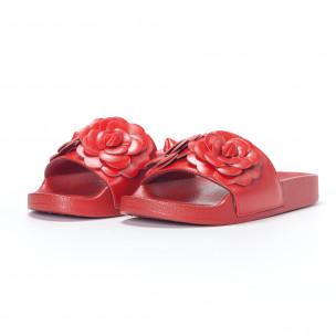 Γυναικείες κόκκινες παντόφλες με διακοσμητικά λουλούδια 2