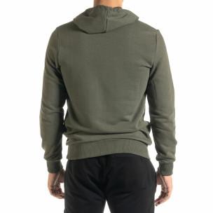 Ανδρικό πράσινο φούτερ Basic με τσέπη καγκουρό 2