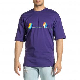 Ανδρική μωβ κοντομάνικη μπλούζα Oversize 2