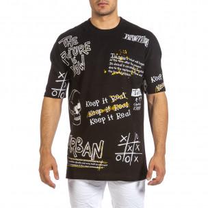 Ανδρική μαύρη κοντομάνικη μπλούζα Maksim