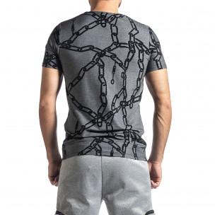 Ανδρική γκρι κοντομάνικη μπλούζα Lagos 2