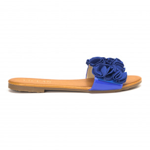 Γυναικείες μπλε παντόφλες με διακοσμητικά λουλούδια