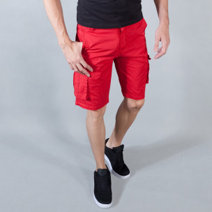 Ανδρική κόκκινη βερμούδα με cargo τσέπες