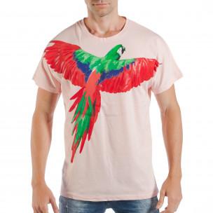 Ανδρική ροζ κοντομάνικη μπλούζα με πριντ παπαγάλο