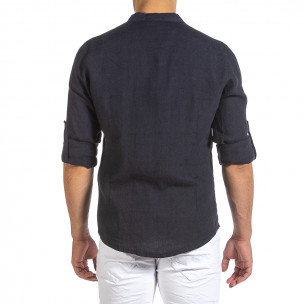 Ανδρικό σκούρο μπλε λινό πουκάμισο Duca Fashion 2