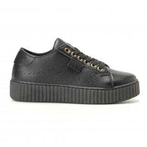 Γυναικεία μαύρα sneakers Ideal Shoes