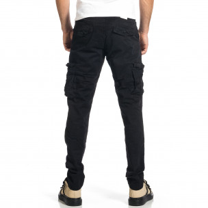 Ανδρικό μαύρο παντελόνι cargo σε ίσια γραμμή Plus Size  2