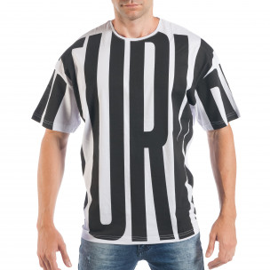 Ανδρική λευκή-μαύρη κοντομάνικη μπλούζα ελεύθερη γραμμή
