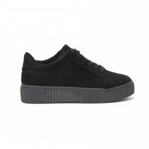 Γυναικεία μαύρα sneakers basic μοντέλο