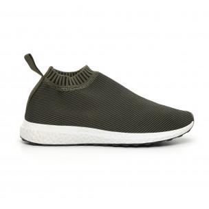 Ανδρικά slip-on πράσινα αθλητικά παπούτσια κάλτσα