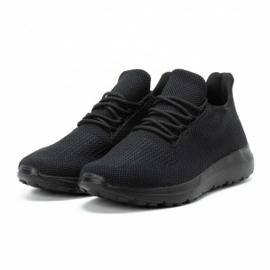 Ανδρικά μαύρα αθλητικά παπούτσια All black ελαφρύ μοντέλο  2