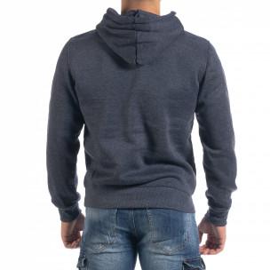 Ανδρικό μπλε μελάνζ φούτερ με τσέπη καγκουρό  2