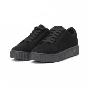 Γυναικεία μαύρα sneakers basic μοντέλο 2