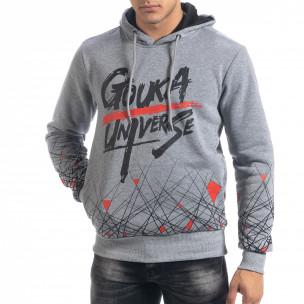 Ανδρικό γκρι φούτερ hoodie με πριντ