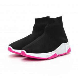 Γυναικεία μαύρα αθλητικά παπούτσια καλτσάκι με Chunky σόλα  2
