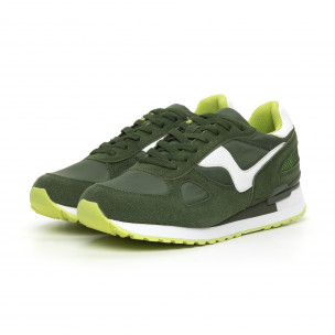 Ανδρικά πράσινα αθλητικά παπούτσια με σκούρο πράσινες λεπτομέρειες  2