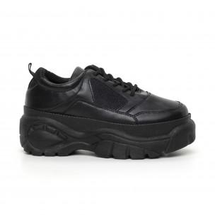 Γυναικεία μαύρα αθλητικά παπούτσια με πλατφόρμα