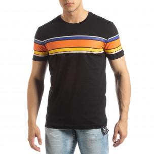 Ανδρική μαύρη κοντομάνικη μπλούζα με πολύχρωμες ρίγες