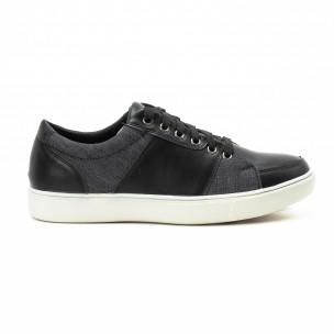 Ανδρικά μαύρα sneakers από δερματίνη και τζιν