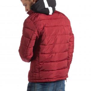 Ανδρικό κόκκινο χειμωνιάτικο μπουφάν με επένδυση και γιακά μοα