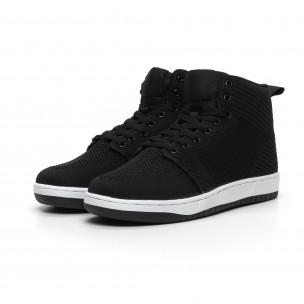Ανδρικά ψηλά μαύρα υφασμάτινα sneakers ελαφρύ μοντέλο 2