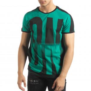 Ανδρική πράσινη κοντομάνικη μπλούζα ON/OFF