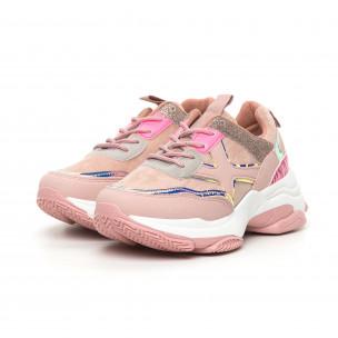 Γυναικεία Chunky αθλητικά παπούτσια ροζ με λεπτομέρειες Mix 2