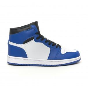 Ανδρικά ψηλά μπλε-λευκά sneakers   2