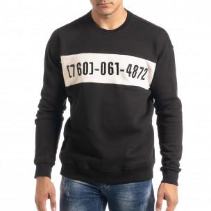 Ανδρική μαύρη μπλούζα τύπου φούτερ