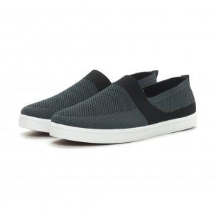 Ανδρικά γκρι πλεκτά sneakers με μαύρες λεπτομέρειες  2