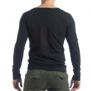 Ανδρική μαύρη μπλούζα Vintage στυλ  2
