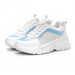Γυναικεία Chunky αθλητικά παπούτσια σε λευκό και γαλάζιο 2