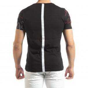 Ανδρική μαύρη κοντομάνικη μπλούζα με ρίγα στην πλάτη  2