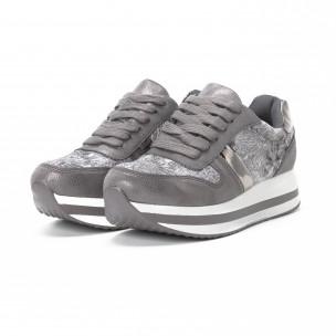 Γυναικεία γκρι sneakers με πλατφόρμα 2