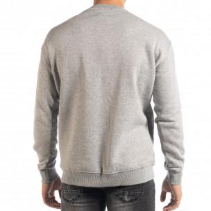 Ανδρική γκρι μπλούζα τύπου φούτερ  2
