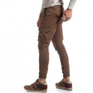 Ανδρικό καφέ παντελόνι cargo τσαλακωμένο μοντέλο