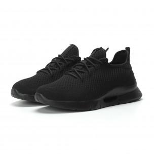 Ανδρικά μαύρα αθλητικά παπούτσια Hole design ελαφρύ μοντέλο  2