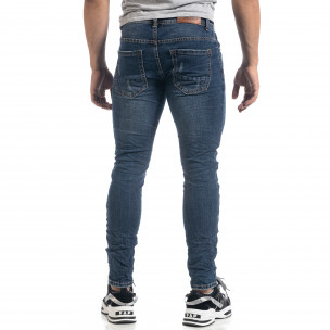 Ανδρικό μπλε τζιν με μπαλώματα Black-White Slim fit 2