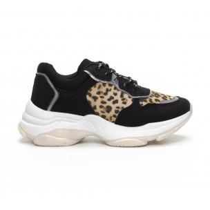 Γυναικεία Chunky αθλητικά παπούτσια σε μαύρο και λεοπάρ
