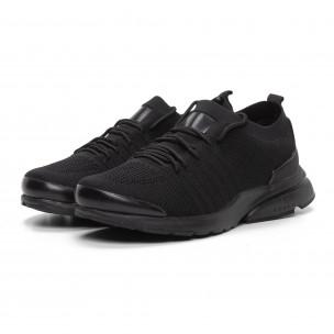 Ανδρικά μαύρα αθλητικά παπούτσια καλτσάκι ελαφρύ μοντέλο  2