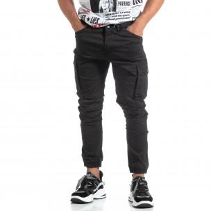 Ανδρικό μαύρο παντελόνι σε ροκ στυλ με Cargo τσέπες 2