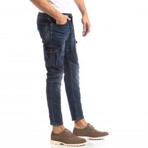 Ανδρικό μπλε τζιν Cargo Jeans σε ροκ στυλ