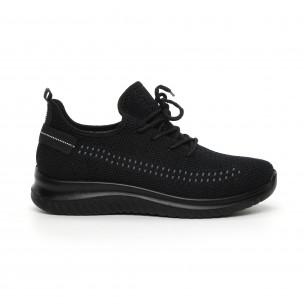 Ανδρικά μαύρα πλεκτά αθλητικά παπούτσια με διακόσμηση  2